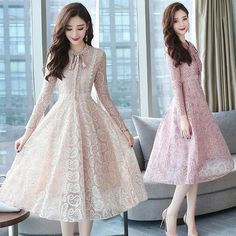 fd5afb97871 2018 Autumn Winter New 2XL Plus Size Vintage Lace Black Midi Dresses Women  Bodycon Pink Dress