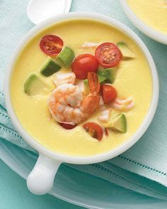 Cold Southwestern Corn and Shrimp Soup | Martha Stewart Living - Summer means long days filled with outdoor activities and impromptu weekend gatherings. So when the temperature rises, keep the cooking time to a minimum and the kitchen cool with our favorite no-cook summer recipes.