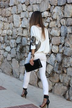 white all over with a touch of black - chic