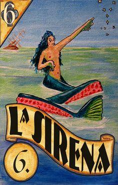 "La Sirena ""The mermaid"" loteria card"