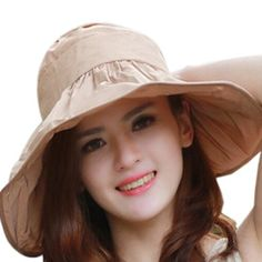 Women's Cotton Folding Large Wide Brim Sun Hat (One Size, Khaki)