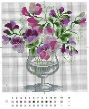 sweet peas in a water goblet Cross Stitch Tree, Cross Stitch Flowers, Cross Stitch Charts, Modern Cross Stitch Patterns, Cross Stitch Designs, Cross Stitching, Cross Stitch Embroidery, Mosaic Flowers, Cross Stitch Pictures