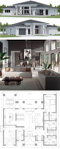 Home Plan, House Plans, Floor Plans, Architecture, Floor Plans New House Plans, Modern House Plans, Small House Plans, Modern House Design, House Floor Plans, Sims House, House Layouts, Future House, Building A House