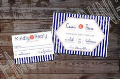 Navy & Coral Nautical Wedding Invitation  by RootCauseDesigns