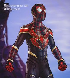Illustration of a what if scenario I've been thinking on. Miles in the MCU as Iron Spider. Worked through this in , really starting to get a hang of the program Spiderman Suits, Spiderman Spider, Amazing Spiderman, Spiderman Marvel, Marvel Comic Universe, Marvel Art, Marvel Heroes, Comic Book Characters, Marvel Characters