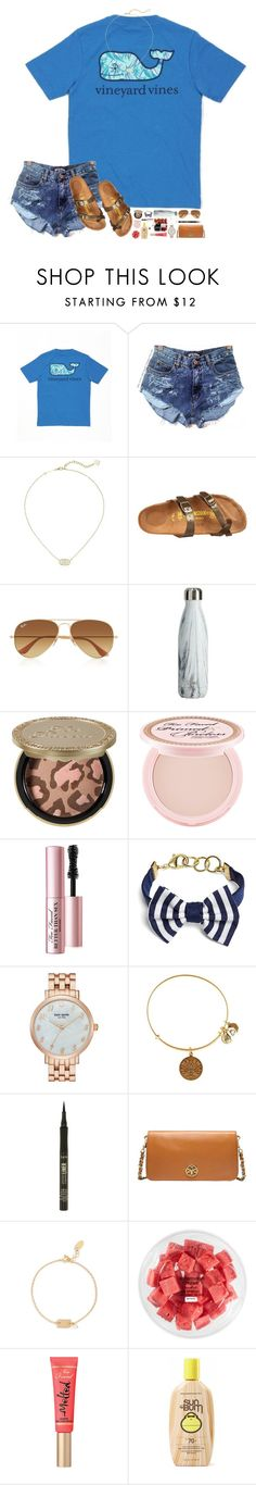 """Happy Saturday!! ☀️☀️"" by hopemarlee ❤ liked on Polyvore featuring Vineyard Vines, Kendra Scott, Birkenstock, Ray-Ban, Too Faced Cosmetics, Brooks Brothers, Kate Spade, Alex and Ani, tarte and Tory Burch"