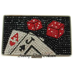 Ladies Crystal Cigarette Case or Credit Card Case w/ Swarovski Crystals Las Vega Swarovski Crystal Purses, Evening Bags, Leather Purses & Accessories