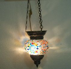 Moroccan lantern mosaic hanging lamp glass chandelier light lampen candle h 072  #Handmade #Moroccan