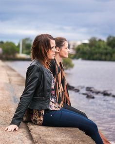 French Connection leather jacket and Ladakh top by the Brisbane River, sister photoshoot