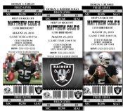 8 NFL Oakland Raiders Football Birthday Party Ticket Invitations