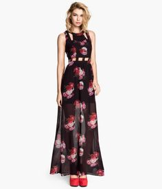 This long chiffon dress with cut-out details & black floral print is the perfect frock for Valentine's - or any romantic occasion!   Party in H&M