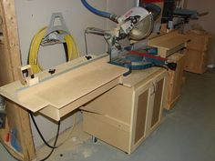 Mobile miter saw station with dust collection.