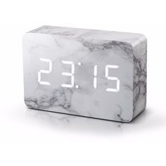 Gingko Electronics - Brick Marble Click Clock ($80) ❤️ liked on Polyvore featuring home, home decor, clocks, alarm clock, lcd clock, battery operated alarm clock, battery alarm clock and cube alarm clock