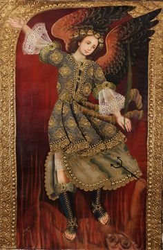 Archangel St Michael~Original Cuzco Art Signed HUGE Santo Oil Painting On Canvas  available on Ebay