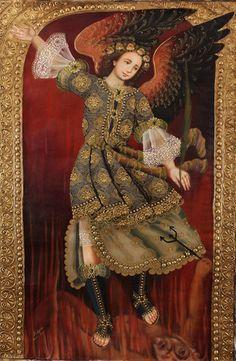 Archangel St Michael~Original Cuzco Art Signed HUGE Santo Oil Painting On Canvas  available on Ebay