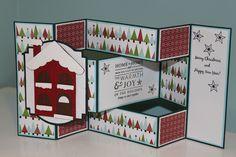 Snowy House Tri-Shutter Christmas Card