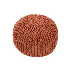 Eclectic burnt orange cotton covers the chunky knitted Audrey pouf. It's a soft and stylish bit of additional seating, ready to morph into an end table or footstool at a moment's notice.  Find the Audrey Pouf, as seen in the Poufs Collection at http://dotandbo.com/category/decor-and-pillows/poufs?utm_source=pinterest&utm_medium=organic&db_sku=97917