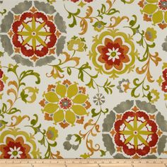 Swavelle/Mill Creek Indoor/Outdoor Sislo Amber from @fabricdotcom For red couch  Screen printed on polyester, this fabric holds up to 500 hours of sunlight exposure, resists stains and is water resistant. Colors include flame orange, orange, yellow, olive, grey and ivory.