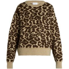 Leopard-jacquard mohair-blend sweater Raey MATCHESFASHION.COM ($520) ❤ liked on Polyvore featuring tops, jacquard top, leopard print top, raey, leopard top and brown top