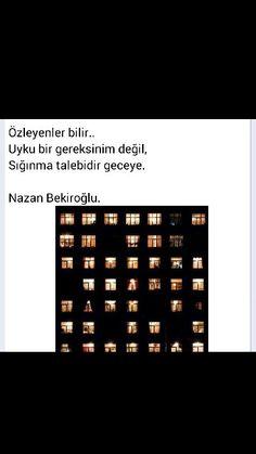Özleyenler bilir Uyku bir gereksinim değil Sığınma talebidir geceye Nazan Bekiroğlu