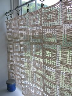 Filet Blocks Crochet Curtains: free  easy level pattern - do this pattern with yellow curtains I started