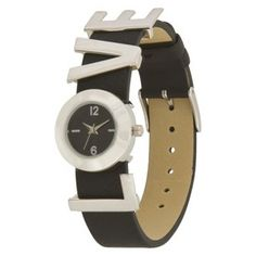 "Women's Xhilaration® ""Love"" Strap Watch - Black"