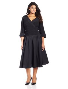 Jessica Howard Women's Plus-Size 3/4 Sleeve Collared Flare Dress, Black, 14W Jessica Howard, PRETTY PLUS SIZE  if you wish to buy just CLICK on AMAZON right HERE http://www.amazon.com/dp/B00FR867H0/ref=cm_sw_r_pi_dp_0boRsb0C8RFCPE51