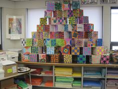 Op art cubes made by fifth graders