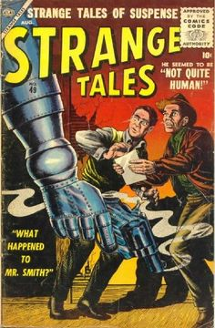 """Cover by Bill Everett (""""Sub-Mariner""""): A robot breaks the laws established in """"I, Robot""""!"""