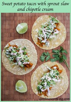 Sweet potato tacos with sprout slaw and chipotle cream