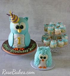 Boy 1st Birthday : Standing Owl Cake, Smash Cake & Owl Cupcakes