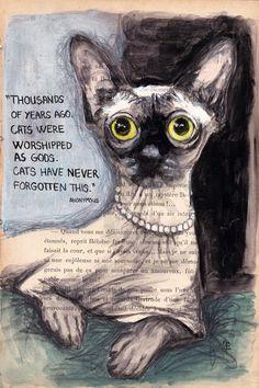 CAT'S MEMORY - Painting, 19x28.5 cm ©2015 par evafialka - Peinture