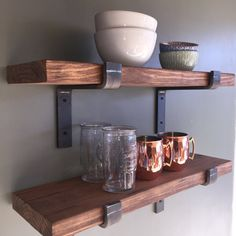 "Industrial Floating Shelves, 12"" Depth Fixer Upper Style, Kitchen Shelf, Wall Decor, Book Shelf, Open Kitchen Shelving"