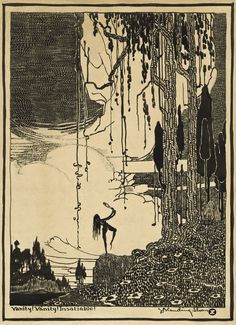 """""""Vanity! Vanity! Insatiable!"""" Etching, 10x14, Chicago, circa 1917. Moving To San Francisco, Commercial Art, Etchings, Graphic Art, Art Nouveau, Chicago, Vanity, Trees, Illustrations"""
