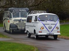 Funeral cortege at Bury St Edmonds Crematrium. 1947 Bedford coach and 1972 Volkswagen Hearse