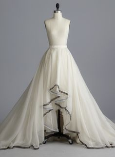 a8d5be605 Della Giovanna Reegan Skirt- Off-White Silk Organza A-Line Circle Ball Gown  High Low Skirt with Metal Hardware Studded Hem
