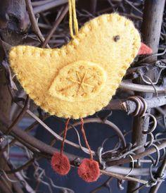 Springtime chick felt ornament