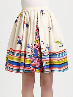 RED Valentino Cotton Flower Bouquet-Print Skirt