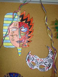 Máscaras elaboradas pelas alunas e pelos alunos do Colégio