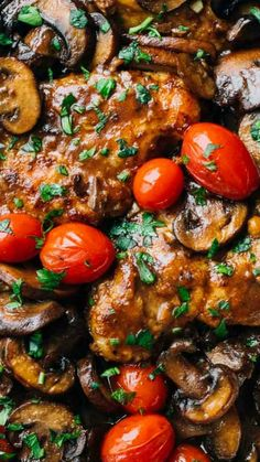 A simple Chicken Marsala Recipe ~ featuring fresh tomatoes, pan-fried chicken breasts, sauteed mushrooms, and a Marsala wine sauce... It's simple. It's quick. It tastes like heaven.