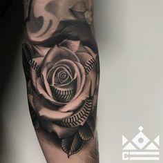 0873f5843598c Baseball rose tattoo by Salvador Diaz at Certified Tattoo Studios! -----