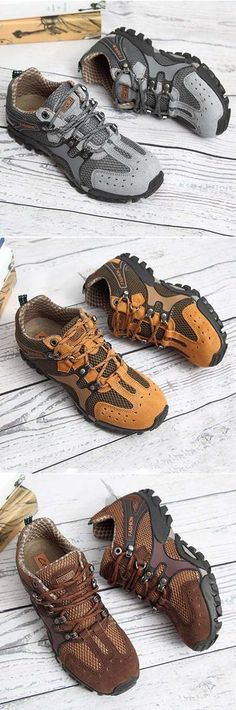 US$36.65(47%OFF)#Men Mesh Hiking Slip Resistant Metal Buckle Outdoor Sport Sneakers