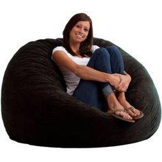 Fuf-Black-Suede-Large-Adult-Bean-Bag-Chair-Comfort-Research-Love-Sac-Lounge-Foam