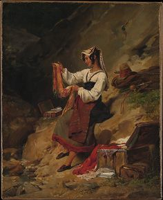 """The Italian Brigand's Wife"" by Léon Cogniet (1825-1826) at the Metropolitan Museum of Art, New York - From the curators' comments: ""Bands of brigands who populated the hills of southern Italy were steady fodder for the Romantic imagination, and their exploits were reported both factually and fancifully. In 1825–26 Cogniet painted three versions of this picturesque scene, in which the wife of a brigand examines a piece of silk just pillaged from unfortunate travelers."""