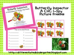 in this activity students will use magnifying glasses to inspect their different bugs. When they inspect their bugs they will notice a picture hidden on it. They will then sound out the CVC word and write it on their recording sheet. This activity is ideal for differentiating instruction to meet the various learning profiles of your students.