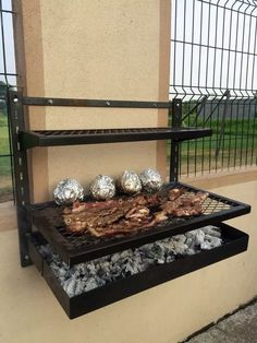 Longer version with posts on each corner Grill Design, Barbecue Design, Outdoor Kitchen Design, Home Decor Bedroom, House Design, Home Decor Kitchen, Outdoor Kitchen, Diy Home Crafts, Welded Furniture