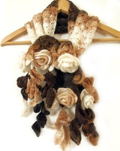 Crochet scarf with 3D freeform flowers leaves prayer shawl brown white. $99.00, via Etsy.