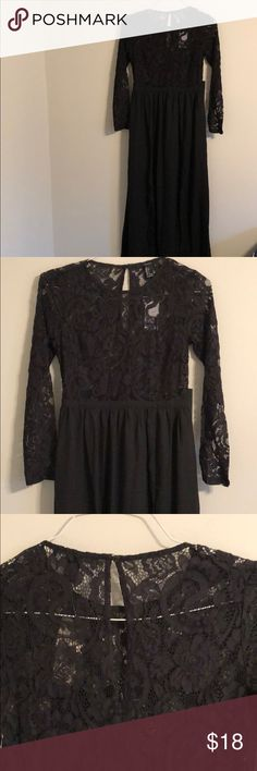 Black Lace Maxi Dress Size small black lace maxi dress from Forever 21. The top is lace only and the bottom is plain black with a cute side slit. The back has a key hold detail (pictured).  New with tags! Forever 21 Dresses Maxi
