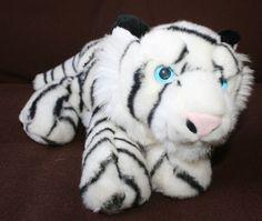 "12"" Aurora Plush White Tiger Cat  ""King""  Flopsie Stuffed Plush Animal Toy   #Aurora"