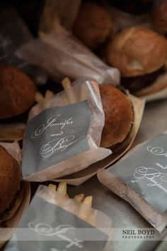 """Late night wedding snacks for guests as they leave.  """"Wedding sliders & french fries"""" for midnight reception food.  Raleigh weddings."""